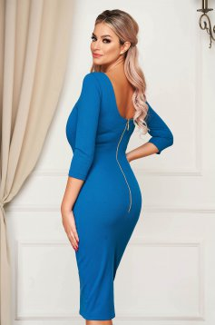 Office blue midi pencil dress StarShinerS cloth with 3/4 sleeves