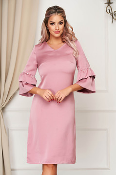 Lightpink dress elegant a-line with bell sleeve with pearls