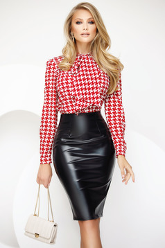 Skirt black office pencil high waisted from ecological leather