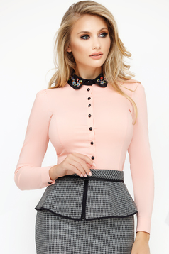 Women`s shirt lightpink office with tented cut slightly elastic cotton with small beads embellished details