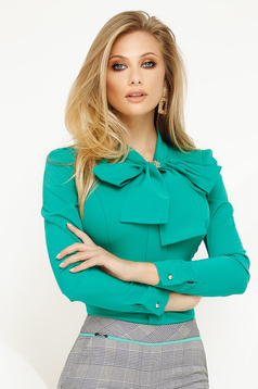 Women`s shirt green office with tented cut slightly elastic cotton with bow
