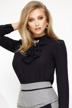 Women`s blouse black elegant voile fabric with metalic accessory ruffled collar