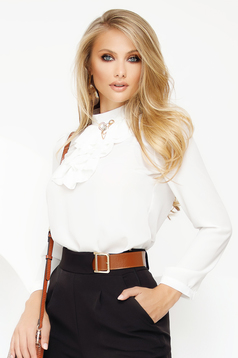 Women`s blouse white elegant voile fabric with metalic accessory ruffled collar
