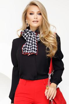 Bluza dama Fofy neagra office din voal accesorizata cu esarfa