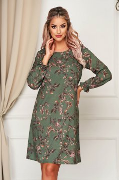 StarShinerS green dress daily a-line elastic held sleeves airy fabric