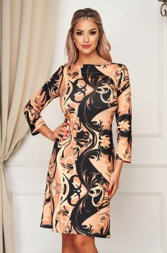 StarShinerS brown dress daily midi 3/4 sleeve a-line
