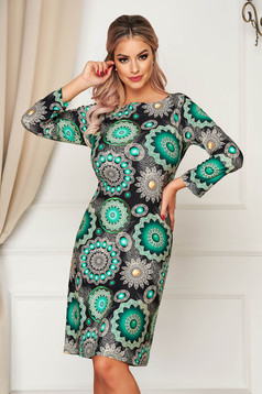 StarShinerS green dress midi daily lycra straight