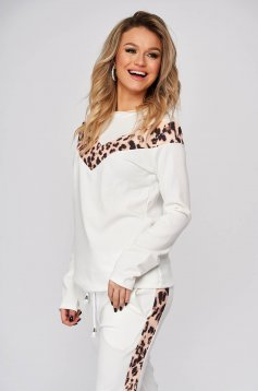 White sport 2 pieces casual from two pieces with trousers medium waist