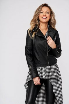 Black jacket casual short cut long sleeve from ecological leather with inside lining