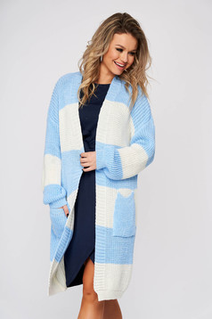 Lightblue cardigan casual long with easy cut knitted fabric