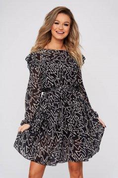 Rochie SunShine neagra de zi din voal clos cu elastic in talie cu volanase la baza rochiei