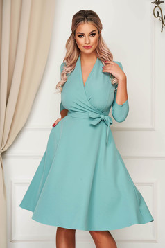 Elegant turquoise midi cloche dress StarShinerS slightly elastic fabric with pockets