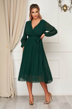 StarShinerS darkgreen dress elegant midi cloche with elastic waist with a cleavage from veil fabric