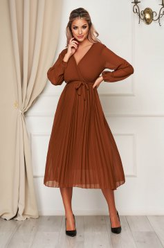 StarShinerS brown dress elegant midi cloche with elastic waist with a cleavage from veil fabric