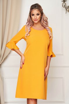 Yellow dress elegant midi straight from non elastic fabric