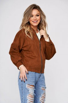Brown jacket casual short cut from soft fabric