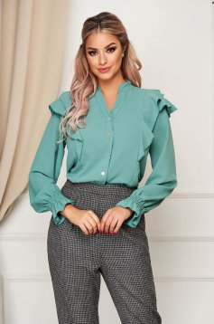 Turquoise women`s shirt office flared thin fabric with ruffle details