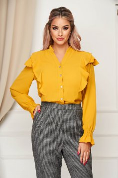Yellow women`s shirt office flared thin fabric with ruffle details