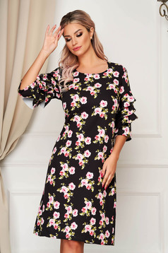 Black dress midi daily thin fabric straight with ruffled sleeves