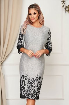 Grey dress elegant midi thin fabric neckline straight
