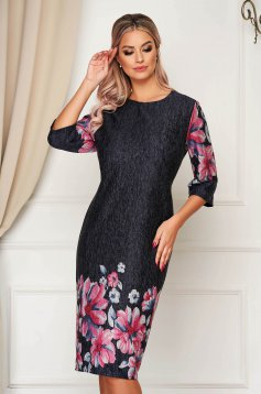 Darkgrey dress elegant midi thin fabric neckline straight