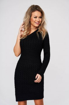 Black dress daily short cut off-shoulder knitted fabric