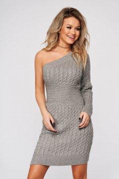 Rochie SunShine gri de zi scurta cu umeri goi din material tricotat