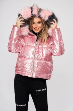 Pink jacket casual from slicker fur collar double-faced
