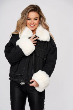 Black jacket casual denim with faux fur lining fur collar