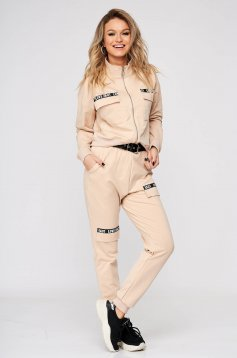 Cream sport 2 pieces casual from two pieces with trousers medium waist accessorized with tied waistband