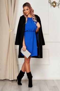 StarShinerS blue dress daily short cut off-shoulder with elastic waist thin fabric