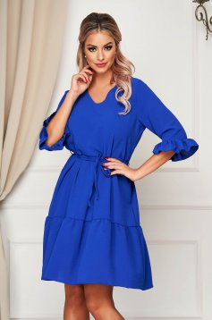 StarShinerS daily with v-neckline blue dress flared