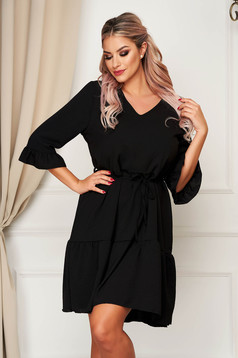 StarShinerS daily with v-neckline black dress flared