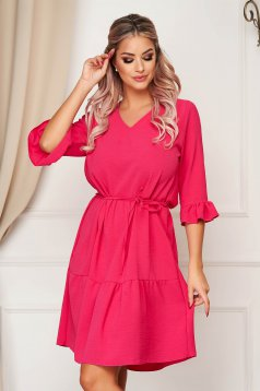 StarShinerS daily with v-neckline pink dress flared