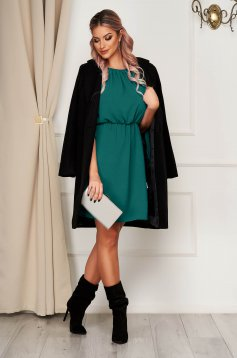 StarShinerS green dress daily short cut off-shoulder with elastic waist thin fabric