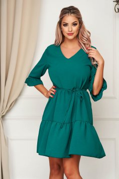 StarShinerS daily with v-neckline green dress flared