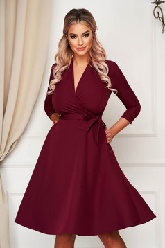 Elegant burgundy midi cloche dress StarShinerS slightly elastic fabric with pockets