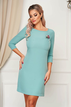 Short cut occasional dress StarShinerS turquoise straight cloth