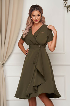 Khaki dress midi daily thin fabric cloche with v-neckline