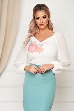 Bluza dama StarShinerS corai eleganta cu croi larg material subtire cu maneci lungi