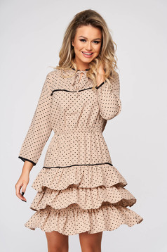 Peach dress elegant cloche with ruffle details dots print short cut