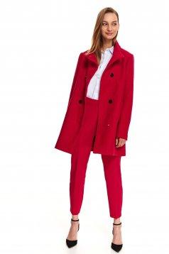 Palton rosu Top Secret casual cu un croi drept din material gros cu maneca lunga
