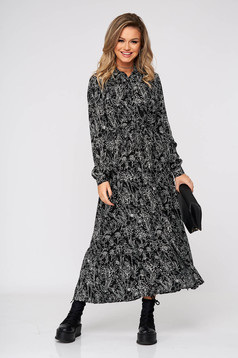 Black dress long daily airy fabric with easy cut long sleeved
