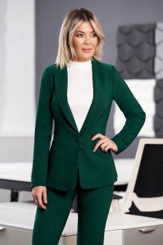 Darkgreen jacket office arched cut slightly elastic fabric