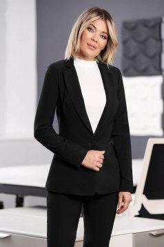Black jacket office arched cut slightly elastic fabric