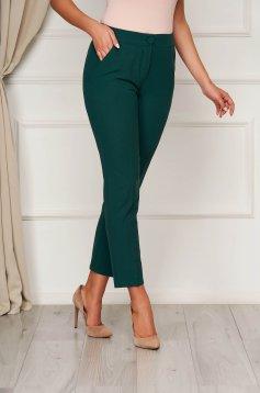 Pantaloni Artista verde inchis office din stofa cu talie medie si croi drept
