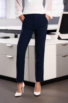 Pantaloni albastru-inchis office din stofa cu talie medie cu un croi drept