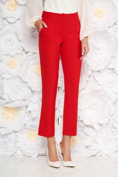 Pantaloni rosii office din stofa cu talie medie cu un croi drept