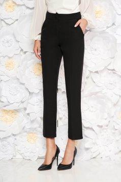 Pantaloni negri office din stofa cu talie medie cu un croi drept