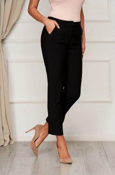 Trousers black office cloth medium waist straight